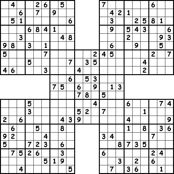 photo relating to Sudoku Samurai Printable known as Samurai Sudoku
